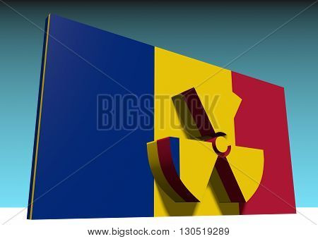 atom energy symbol and romania national flag. 3d rendering