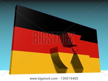 atom energy symbol and germany national flag. 3d rendering