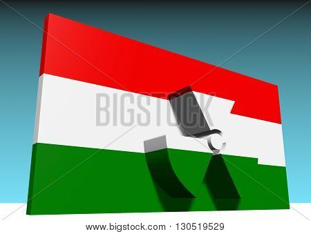 atom energy symbol and hungary national flag. 3d rendering