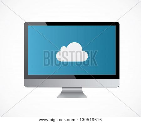 Blue color mac computer monitor with black frame