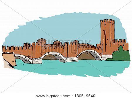 Castel Vecchio Bridge image in Verona , Italy