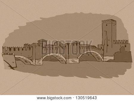 Castel Vecchio Bridge vintage image. Verona, Italy