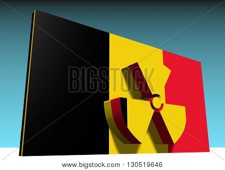 atom energy symbol and belgium national flag. 3d rendering