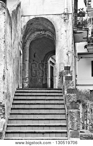Narrow Alley with Stairs in Italian City of Cetara Retro Image Filtered Style