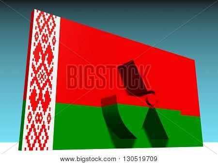 atom energy symbol and belarus national flag. 3d rendering
