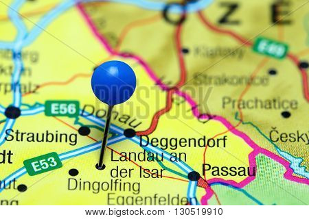 Landau an der Isar pinned on a map of Germany