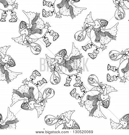 Seamless pattern for print textile design or paper wrapping.Merry Christmas doodles with stork bird brought the baby.