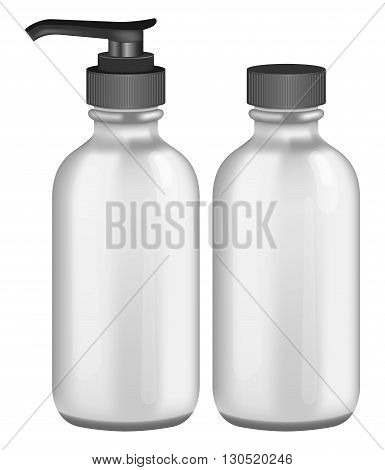 Photorealistic grey cosmetic bottles on white background