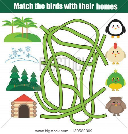Matching game. Match the birds with homes children educational game with maze. Learning nature animals birds theme for kids books worksheets
