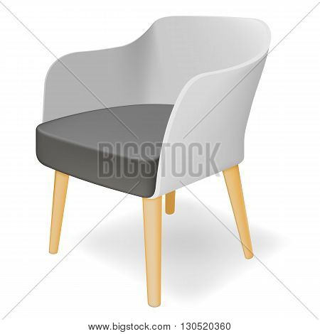 Photorealistic armchair on white background. Vector illustration