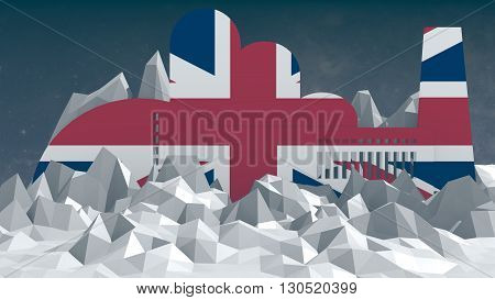 factory model textured by great britain national flag. 3d rendering