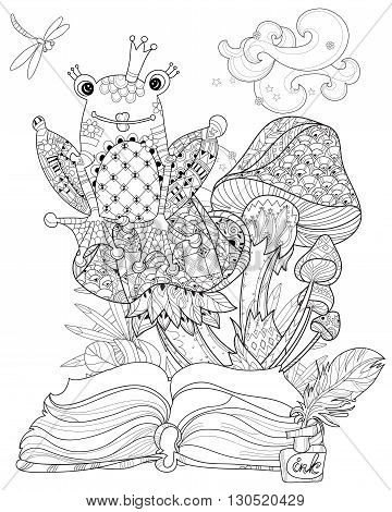 Hand drawn doodle outline mushrooms and frog princess decorated with floral ornaments from story magic.Vector zen art illustration.Sketch for  poster, children or adult coloring pages.Boho style.