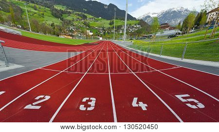 The Red Running Tracks in The Switzerland