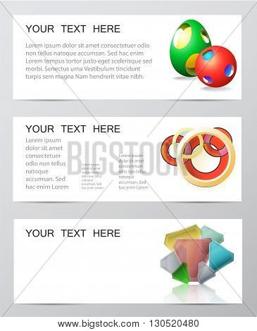 Paper infographics banners template with 3d geometric motifs for webdesign