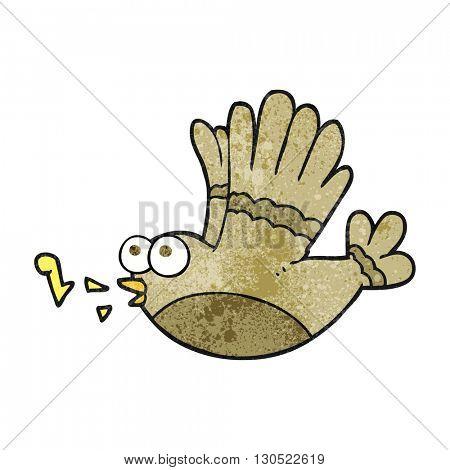freehand textured cartoon singing bird