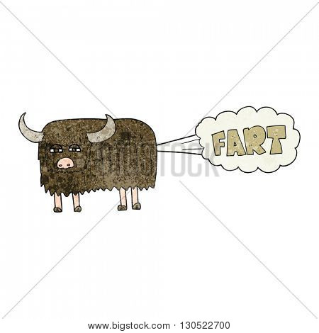 freehand textured cartoon hairy cow farting