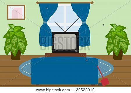 Living room interior in retro style; flat design vector illustration
