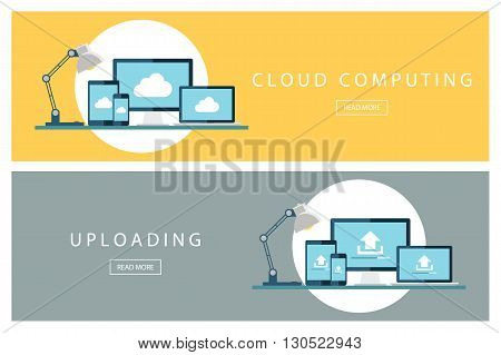 Set of flat design concepts Cloud computing and Uploading technology. Banners for web design, marketing and promotion. Presentation templates. Vector illustration.
