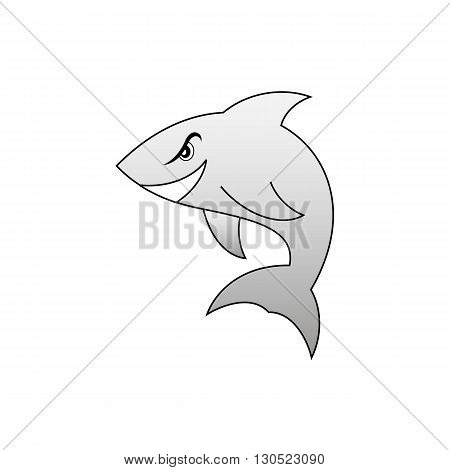 Angry cartoon grey shark vector illustration isolated on white background.