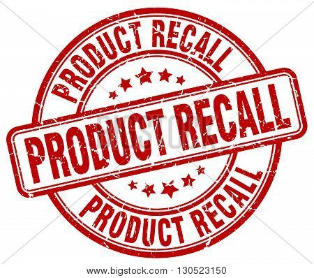 product recall red grunge round vintage rubber stamp