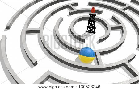Image relative to politic situation in Ukraine. National flag textured sphere in labyrinth. 3d rendering