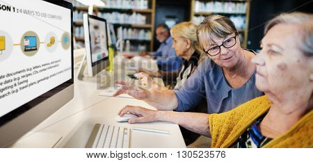 Senior Adult Computer Social Networking Connection Technology Concept