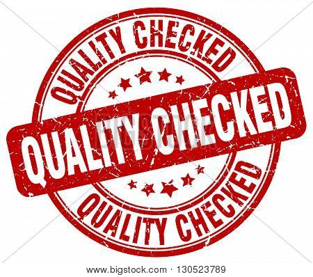 quality checked red grunge round vintage rubber stamp