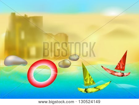 Summer background with sand castle, beach, two sailboats and lifebuoy