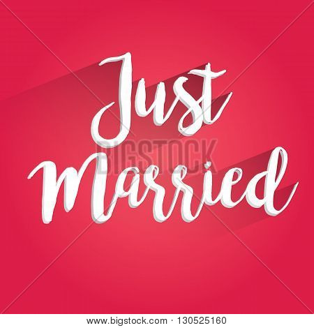 Just Married Lettering Design. Easy to manipulate, re-size or colorize.