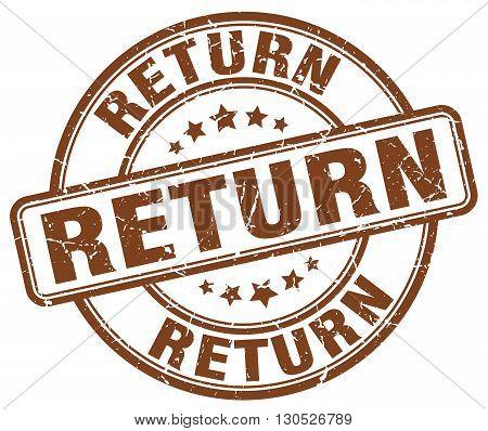 return brown grunge round vintage rubber stamp