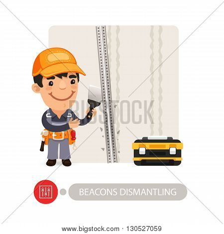 Worker dismantling wall beacons. Cartoon character. Isolated on white background. Clipping paths included.