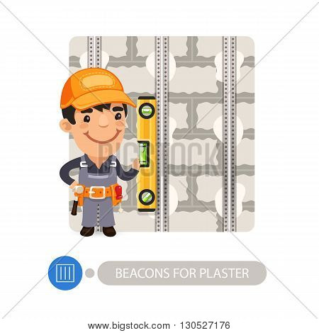 Worker installing beacons for plaster. Cartoon character. Isolated on white background. Clipping paths included.