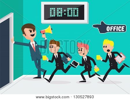 Boss with Megaphone. Workers Running to Office. Vector illustration