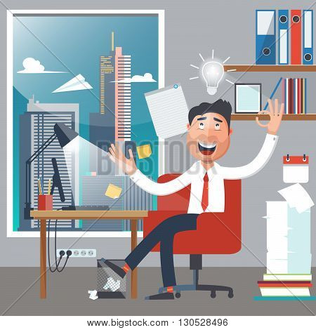 Businessman at Work. Man had an Idea.  Vector illustration