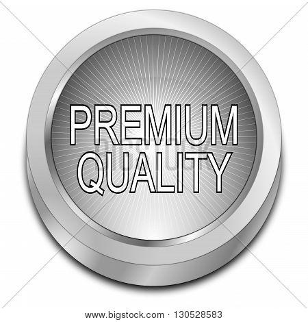 silver Premium Quality button - 3D illustration