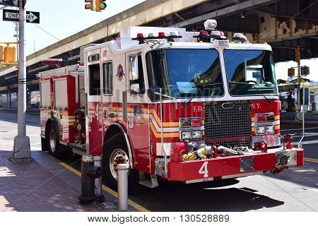 NEW YORK CITY, USA - APRIL 17, 2016 : FDNY fire truck