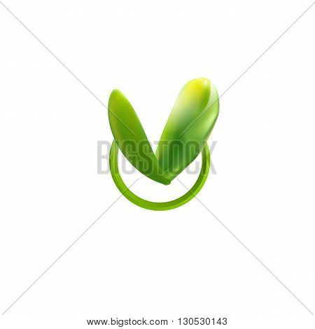 Vector illustration. Green Leaf icon. Eco symbol