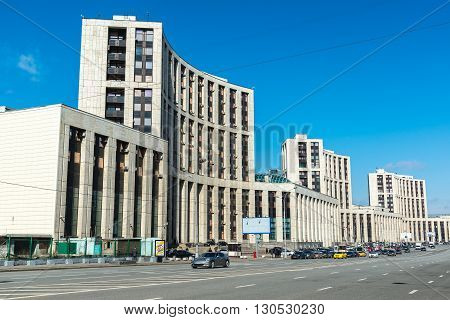 Moscow, Russia - April 04, 2016. The Vnesheconombank on Academician Sakharov Prospect