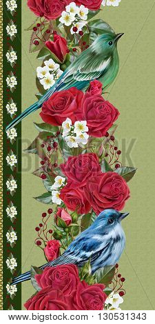 vertical floral border rose red and green leaves blue bird white flowers anemones seamless