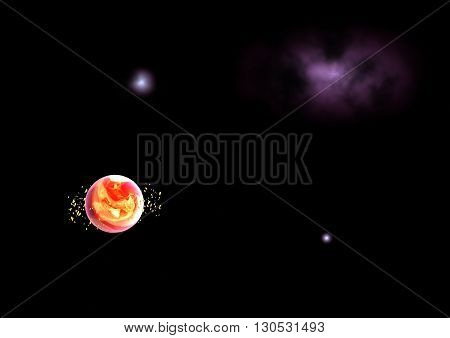 Far-out planets in a space against stars. Elements of this image furnished by NASA.