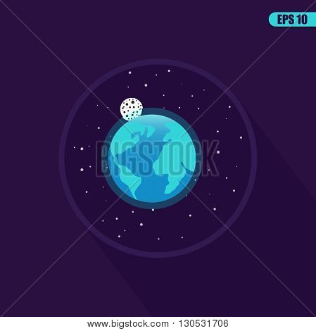 Space landscape: stars, planets, comet, ufo, stardust. Vector flat illustrations and background. Vector flat design illustration of space icons. Space icon set.