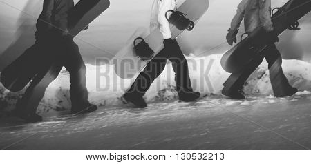Group of Snowboarders Mountain Sports Lifestyle Concept