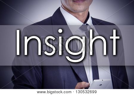 Insight - Young Businessman With Text - Business Concept
