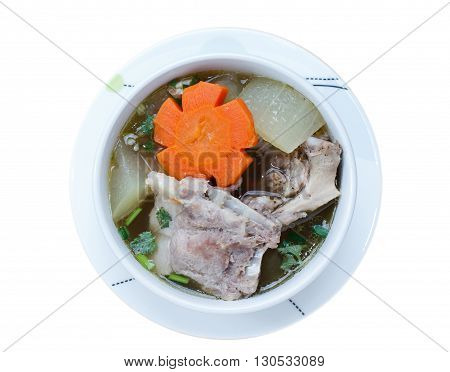 winter melon soup with pork spare rib on wood background isolate on white background, Top view