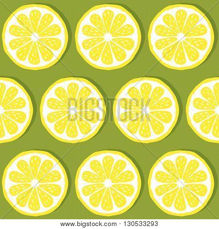 seamless pattern of lemons-vector illustration. Bright print texture lemon yellow. Natural bright lemon. Lemon wedges are symmetrical. Lemon fruit. EPS 10