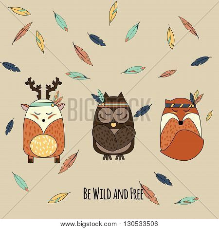 Boho animals in hand drawn style. Tribal owl deer and fox with falling feathers inspirational vector illustration