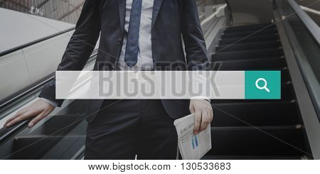 Business Man Escalator Frame Graphic Concept