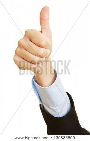 Hand holding thumbs up as a victory sign