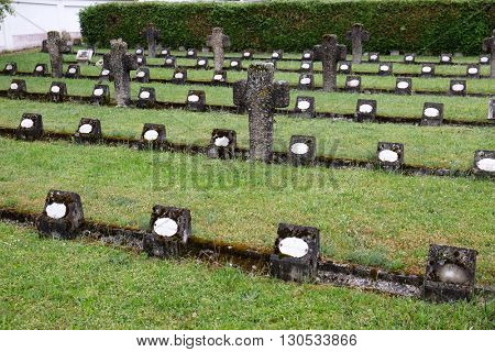 URSBERG, GERMANY - JUNE 09: The graves of members of St. Joseph Congregation on the cemetery in Ursberg, Germany on June 09, 2015.