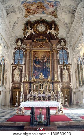BENEDIKTBEUERN, GERMANY - OCTOBER 19: Main altar, Saint Benedict basilica in the famous Benediktbeuern abbey, Germany on October 19, 2014.